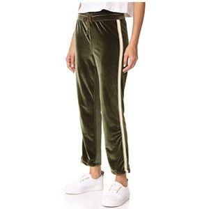 NWOT MOTHER olive velvet track lounge pants!